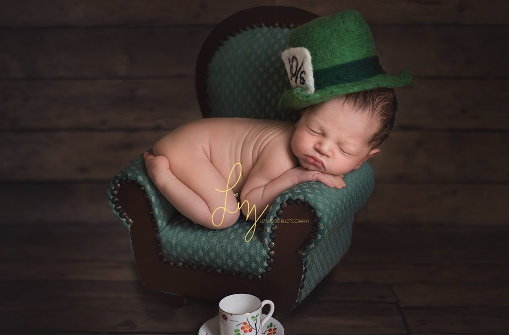 Alice in Wonderland themed newborn and sitter child photography – Part 1 – Ipswich newborn photoshoot, dressed as the Mad Hatter.
