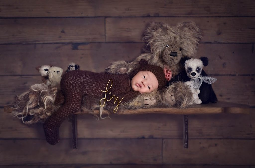 Safely posed on the shelf laying on a beanbag and composited, Suffolk photographer, Essex photographer offering safe and creative newborn photography makes for cute and unique baby photos. Cute baby bear.