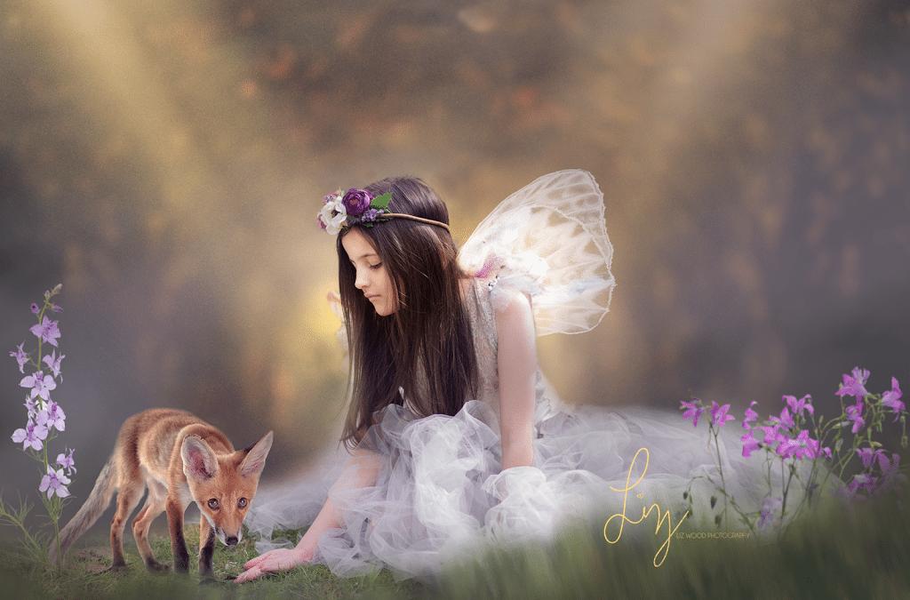 The magical little animal fairy. Gorgeous little girl dressed as a fairy. Suffolk and Essex fairy photos.