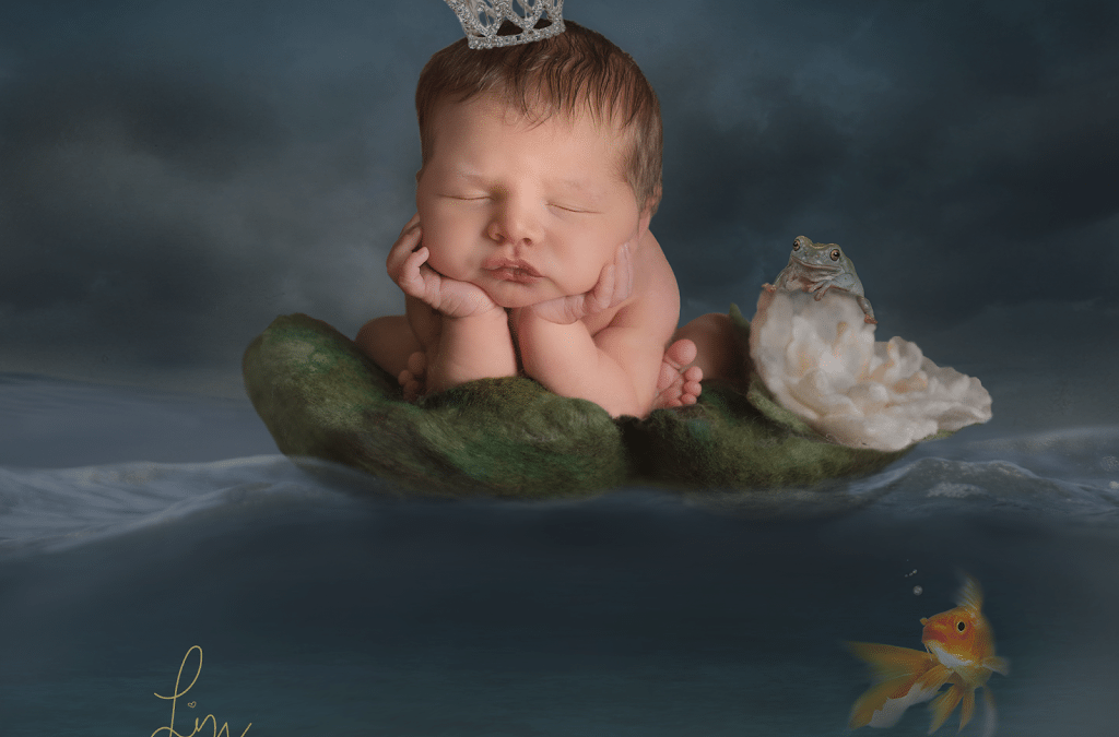The Princess and the Frog – fairy tale inspired newborn baby photoshoot.