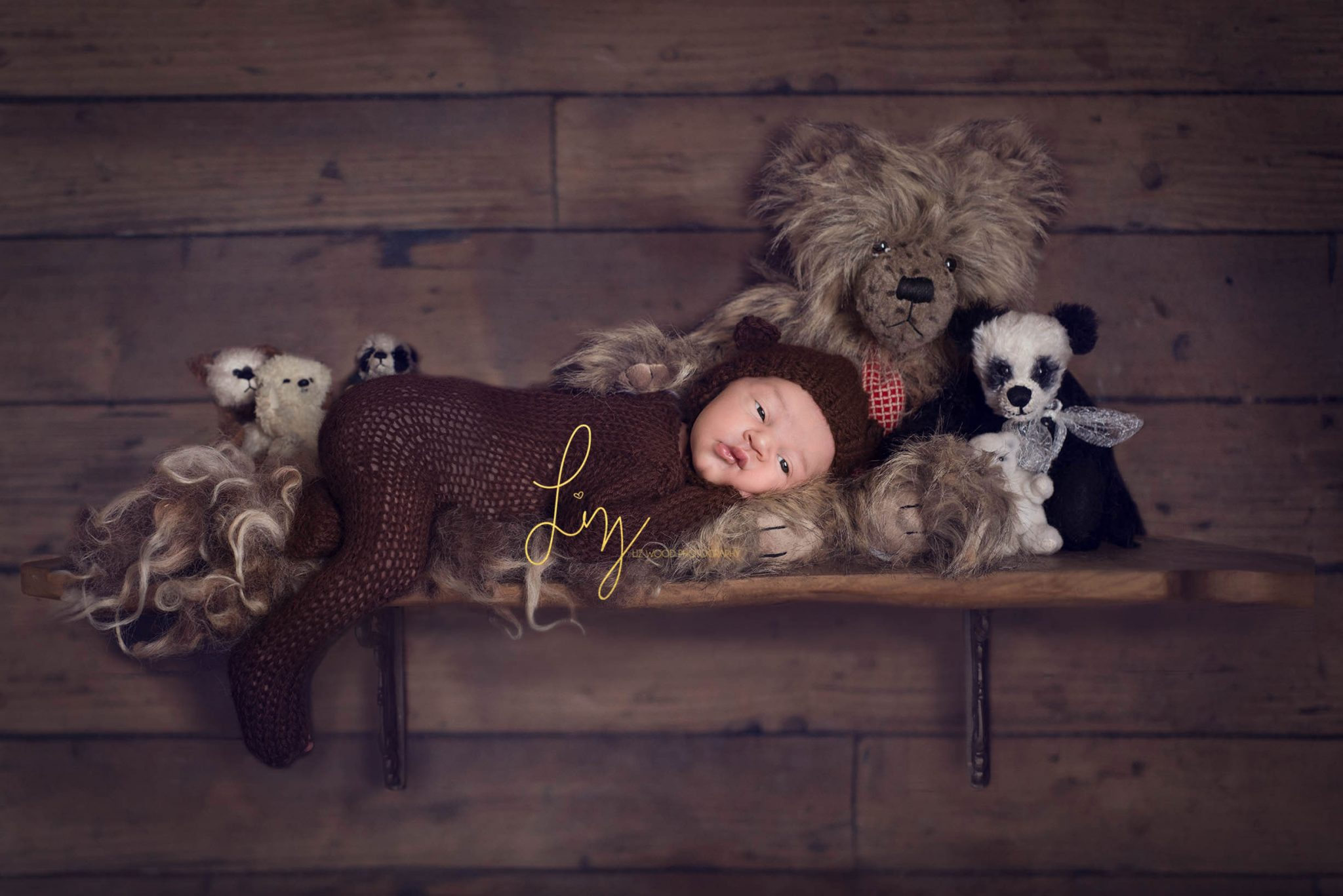 Baby teddy bear - safe composite shelf picture, baby boy dressed as a bear.