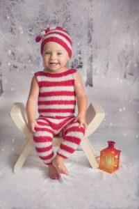 Year old baby girl Christmas photoshoot.