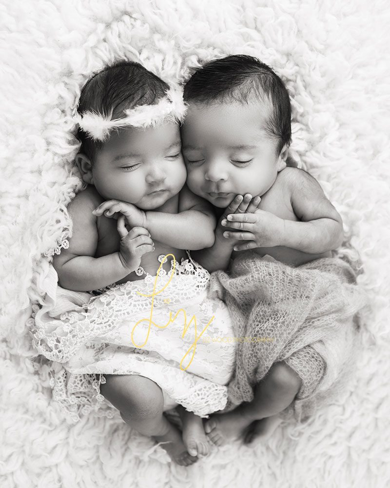 Ipswich newborn twin photography black and white photo of boy and girl