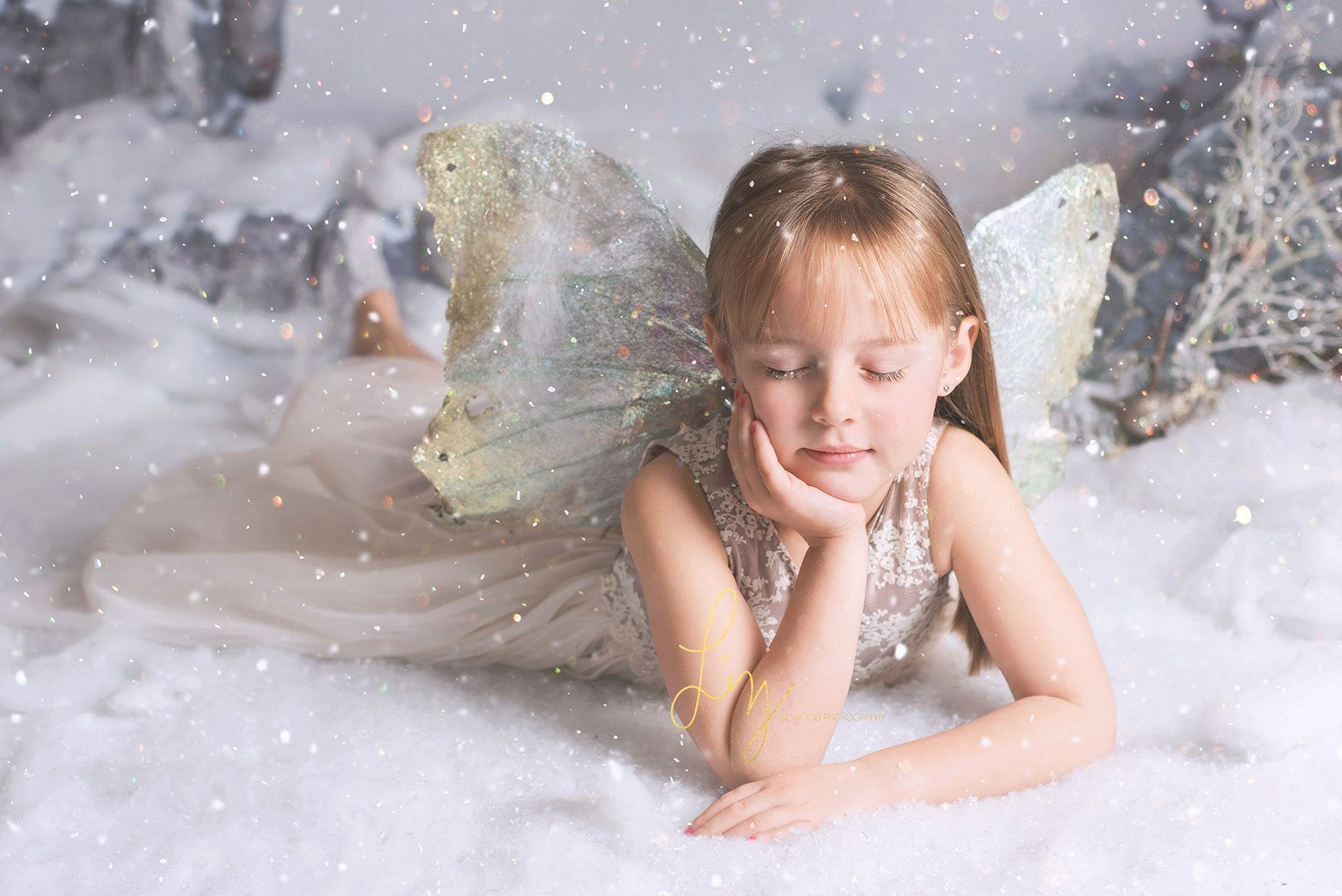 Snow fairy photoshoot - child photographer in Essex