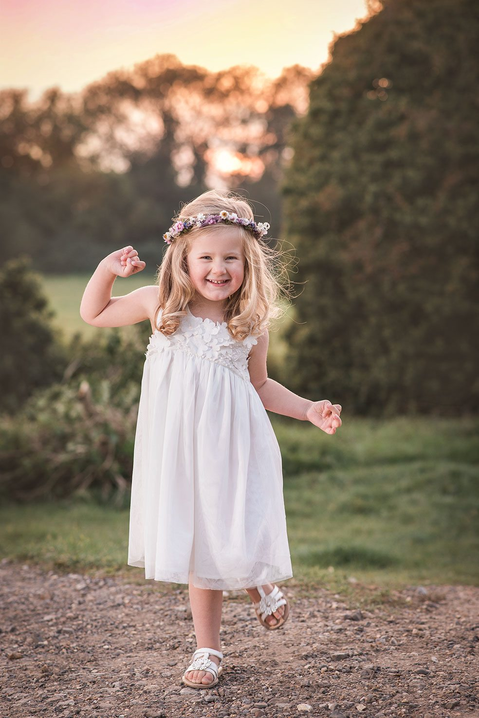 Beautiful sunset shoot of a little girl in a floaty dress - Essex, Suffolk, Cambridge and London child and family photographer.