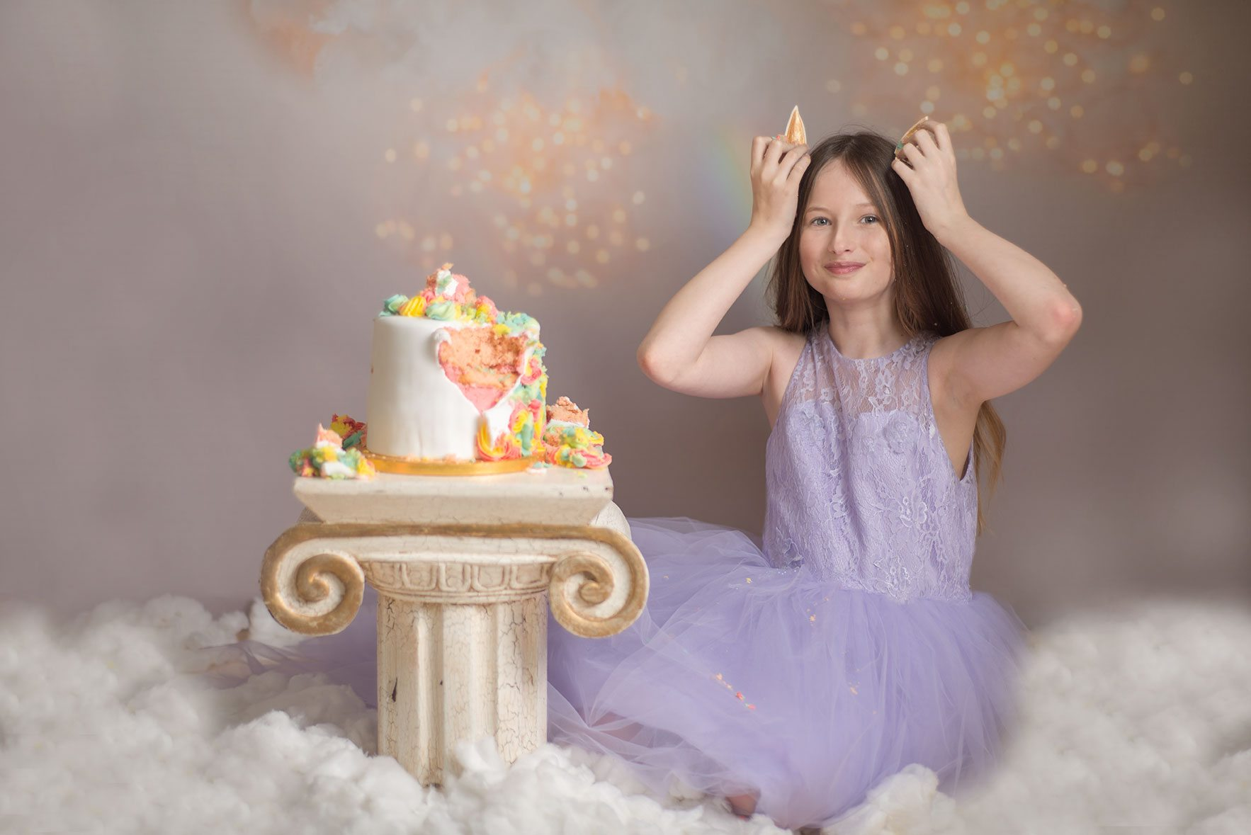 Unicorn inspired rainbow cake smash - Essex and Suffolk cake smash photographer