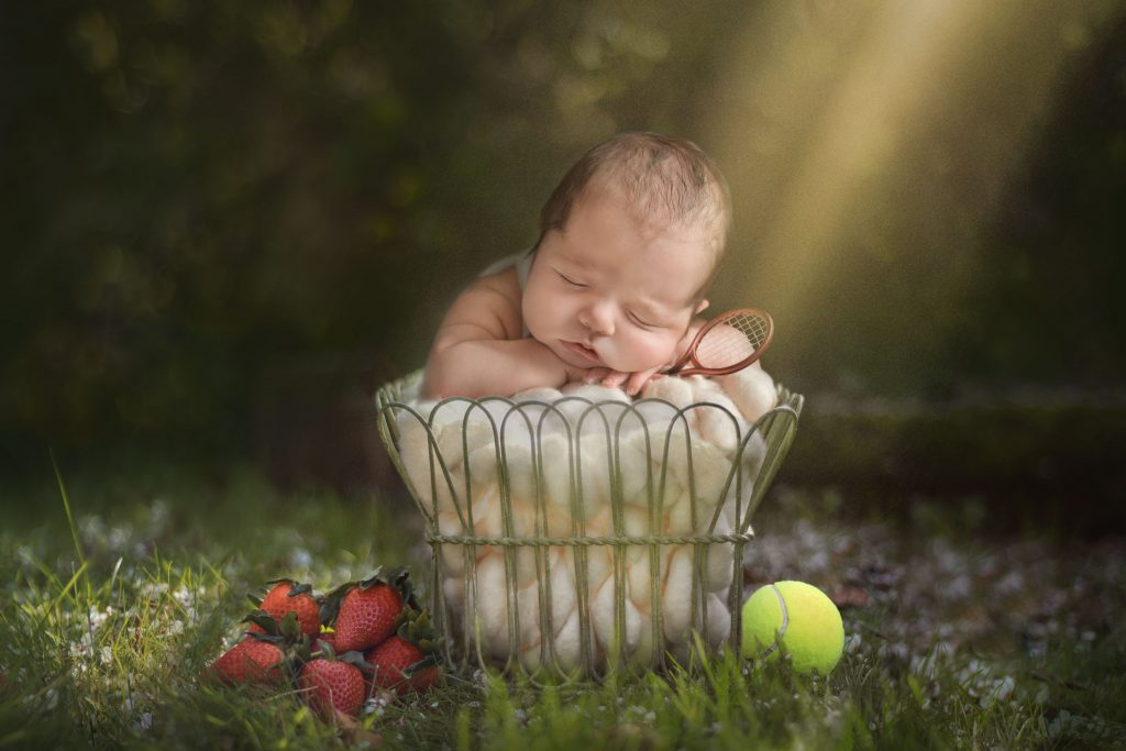 Wimbledon Tennis inspired newborn shoot - Essex and Suffolk baby photographer