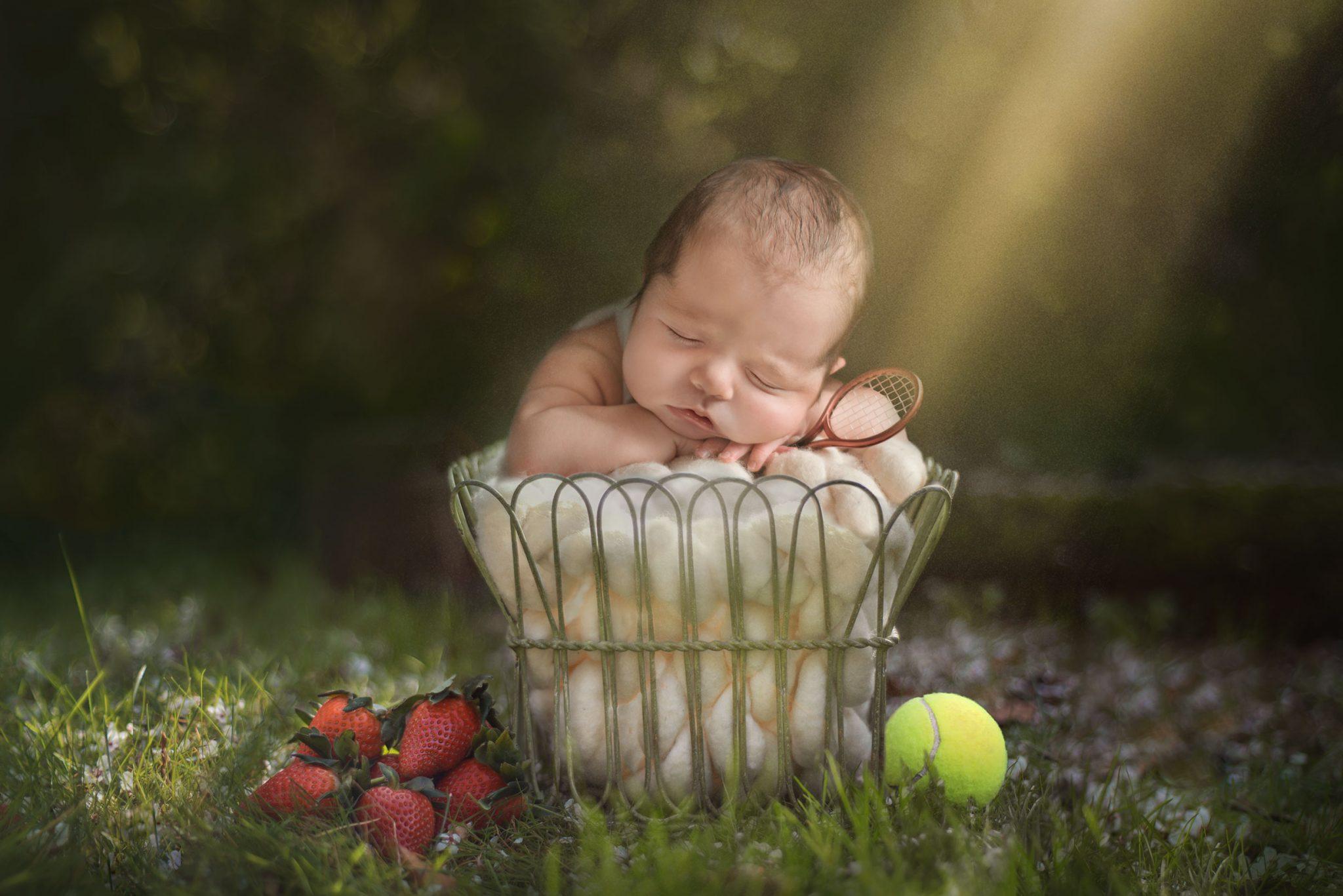 Wimbledon Tennis inspired newborn shoot - Essex and Suffolk baby photographer