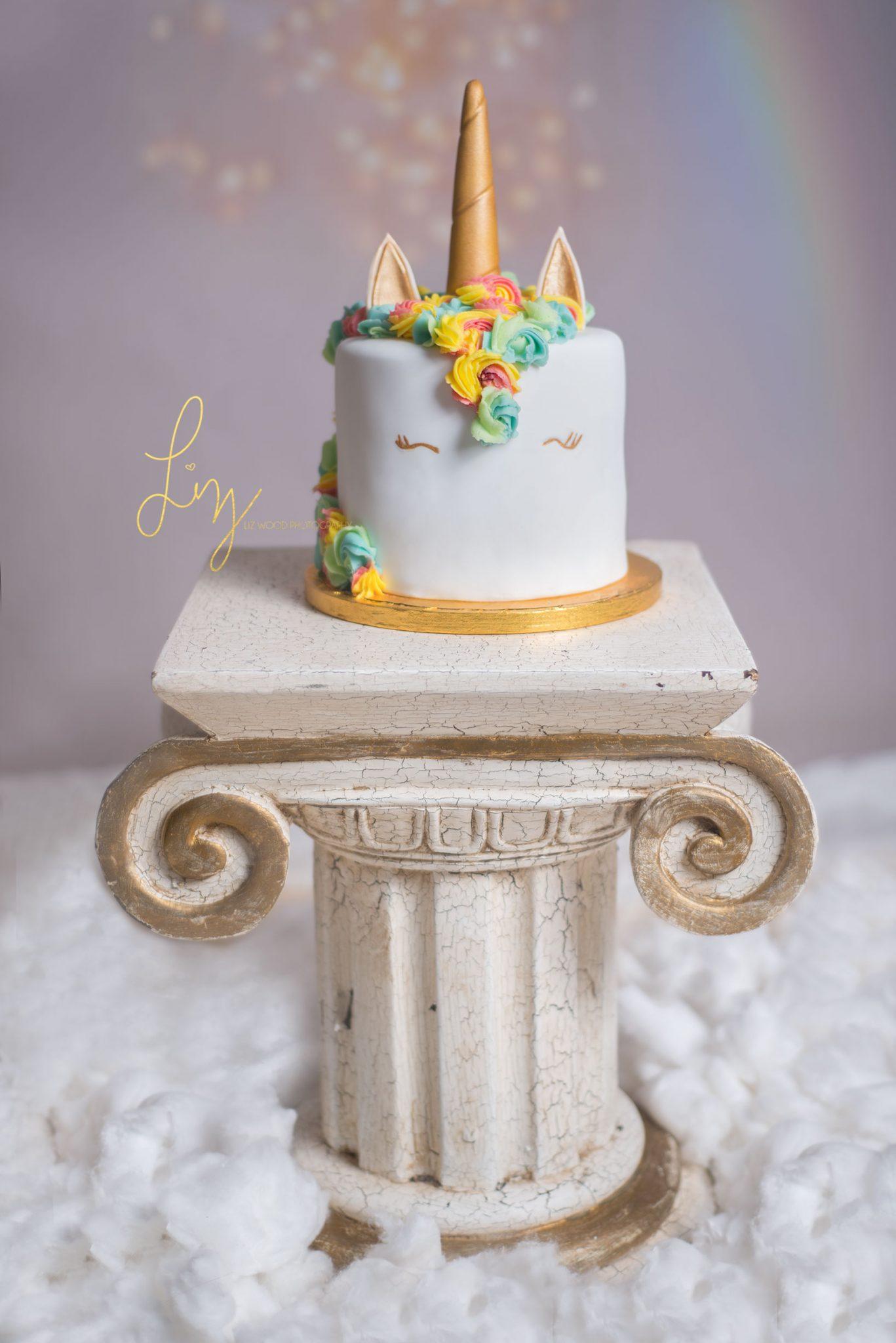 Rainbow cloud unicorn themed Essex cake smash - Liz Wood Photography