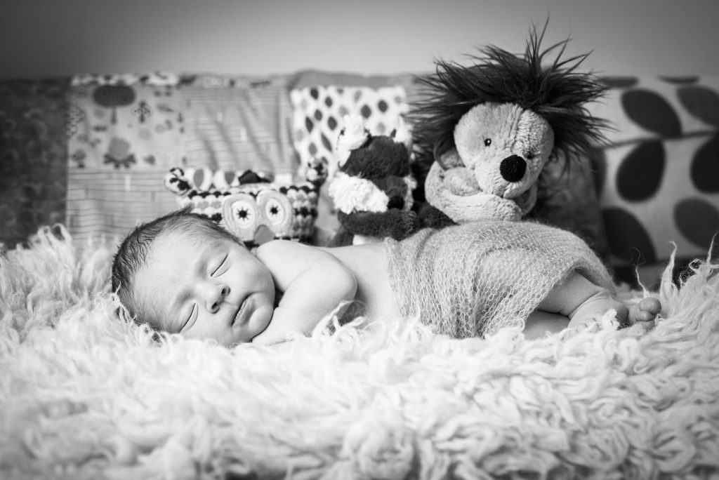 Colchester-newborn-lifestyle-session---baby-boy-in-black-and-white-laying-on-sofa-with-his-teddy-bears