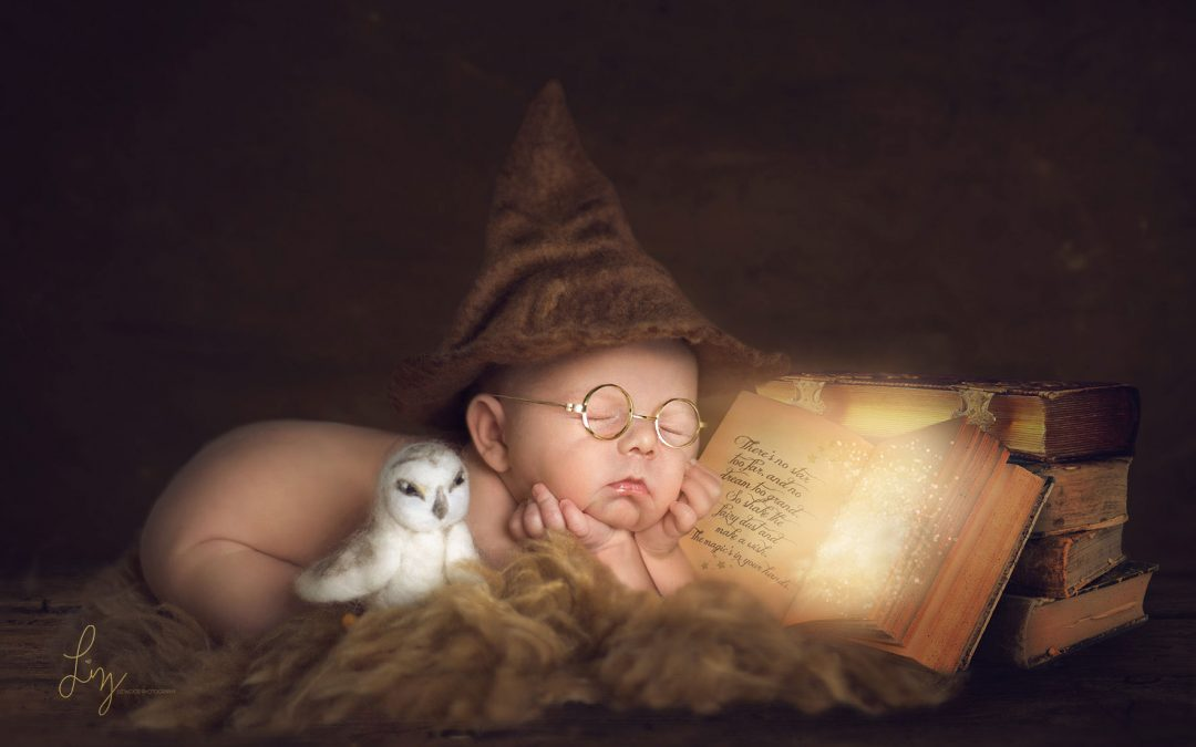 My favourite newborn photos – Essex Newborn Photographer – Harry Potter, Elf on Shelf, Baby in a sleigh