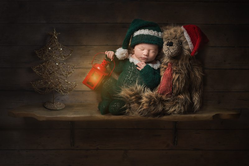 Colchester Essex newborn - Elf on the Shelf inspired Christmas baby photo image