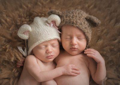 Essex Twin Newborn Photographer - sleepy twins in bear hats