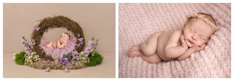 Baby laying on peach flower fabric and composite image on flower wreath in lilac