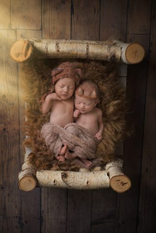 Sleepy twins on their Essex Newborn Shoot