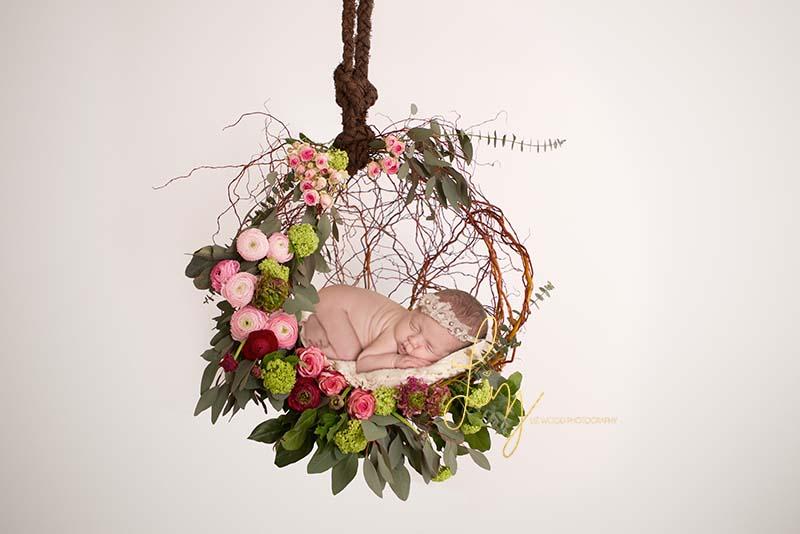 Essex baby photos - baby in flower basket