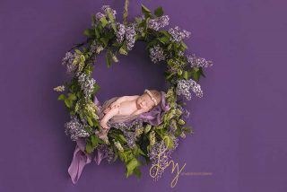 Baby photography in Essex - purple flowers hoop baby prop newborn shoot