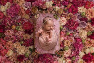 Exquisite floral newborn portrait baby in bed Essex newborn and maternity photographer